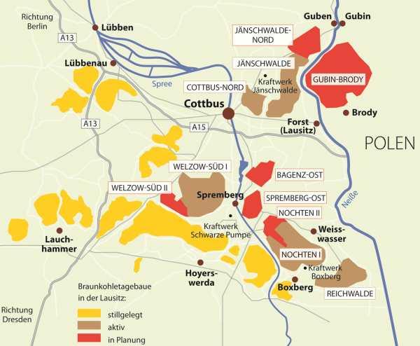 Lausitz Karte.Karte Zu Alten Betriebenen Und Geplanten